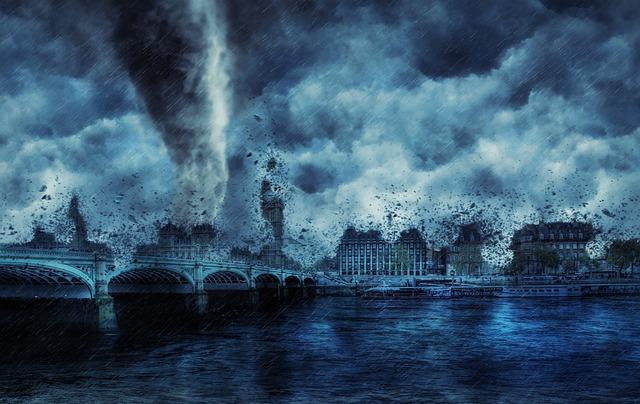 tornádo ničící město